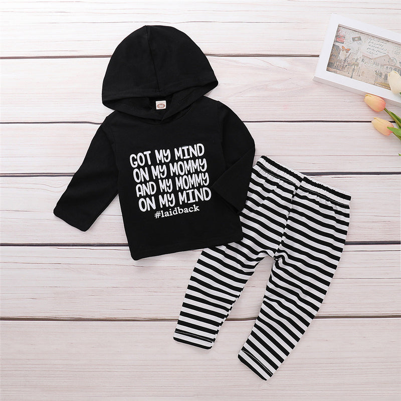 Boys Letter Printed Hooded Long Sleeve Tops & Pants