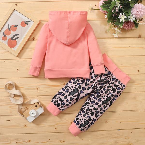 Baby Girls Letter Printed Hooded Top & Leopard Pants Wholesale Baby Cloths