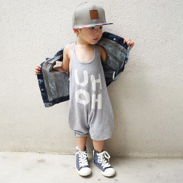 Unisex Letter Printed I-shaped Jumpsuit Wholesale Childrens Clothing
