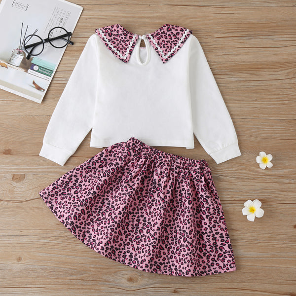 Girls Letter Printed Leopard Long Sleeve Top & Skirt Wholesale Little Girls Clothes