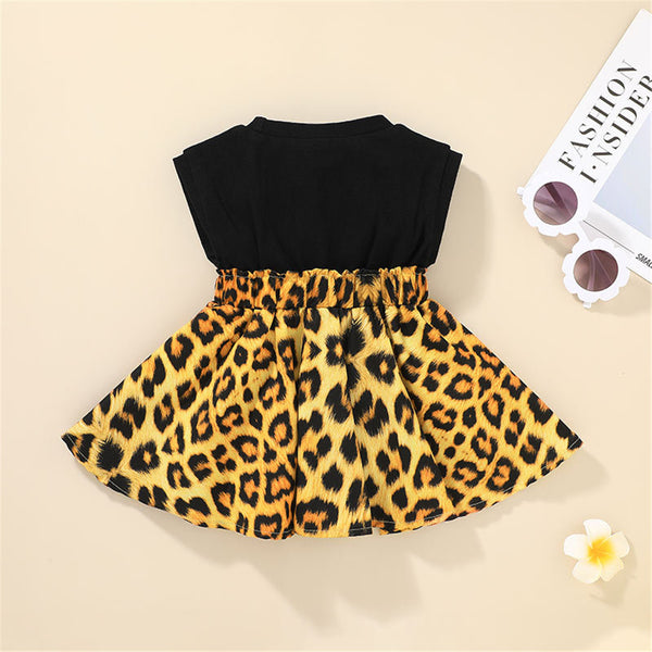 Baby Girls Letter Printed Leopard Sleeveless Dress baby clothing wholesale
