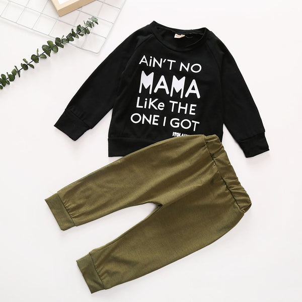 Boys Letter Printed Long Sleeve Casual Tops & Pants