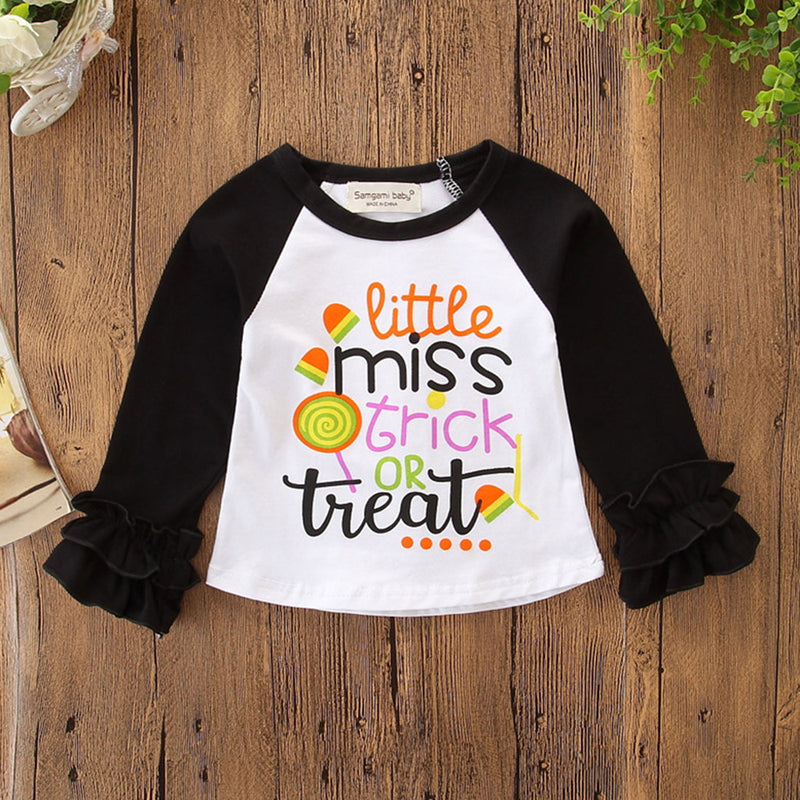 Girls Letter Printed Long Sleeve Crew Neck Tops Wholesale