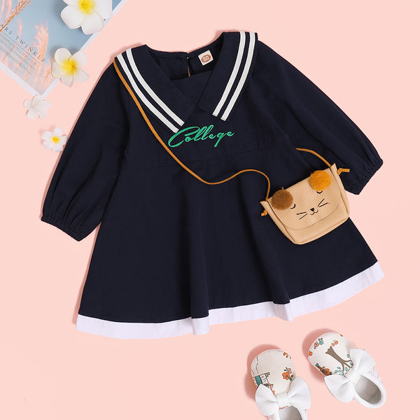 Baby Girls Letter Printed Long Sleeve Dress Cheap Baby Clothes Online Wholesale