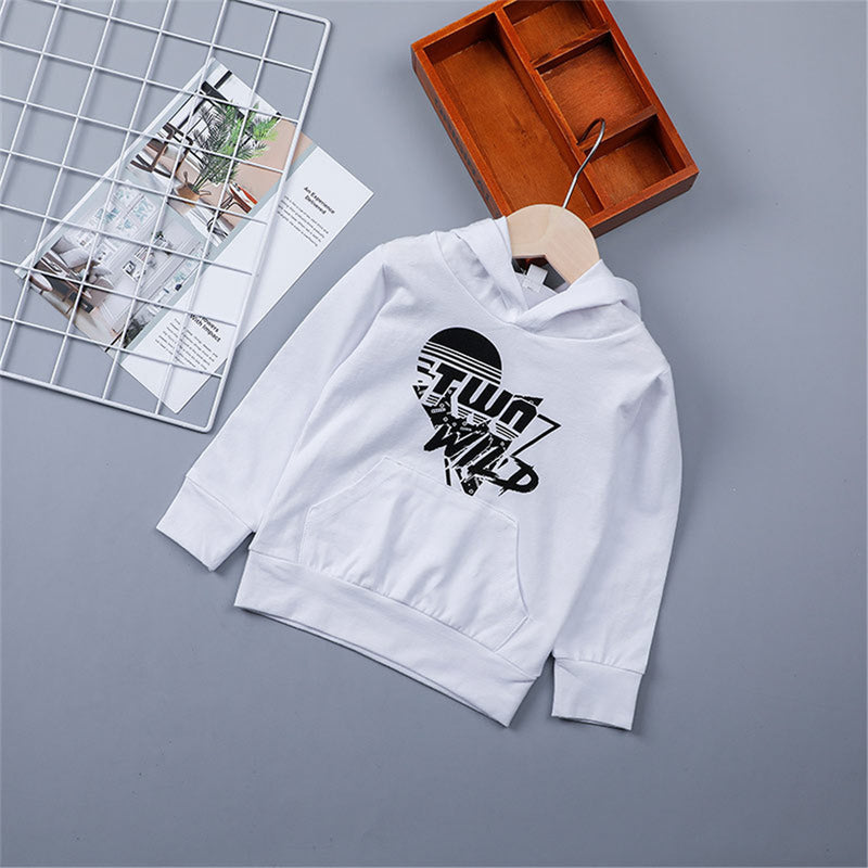 Boys Letter Printed Long Sleeve Hooded Casual T-shirt Boy Clothing Wholesale