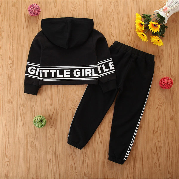 Little Girls Letter Printed Long Sleeve Hooded Top & Pants Wholesale Little Girls Clothes