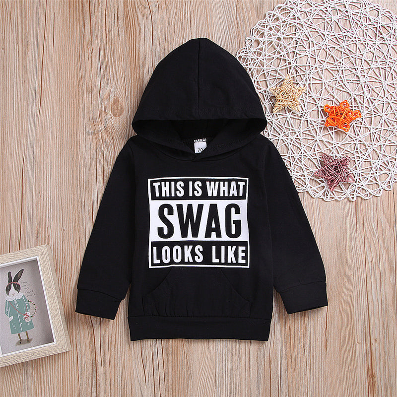 Boys Letter Printed Long Sleeve Hooded Tops Wholesale