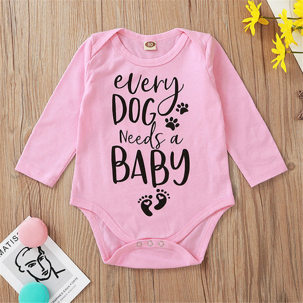 Baby Girls Letter Printed Long Sleeve Pink Romper Baby Wholesale