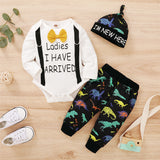 Baby Boys Letter Printed Long Sleeve Romper & Dinosaur Pants & Hat Cheap Boutique Baby Clothing