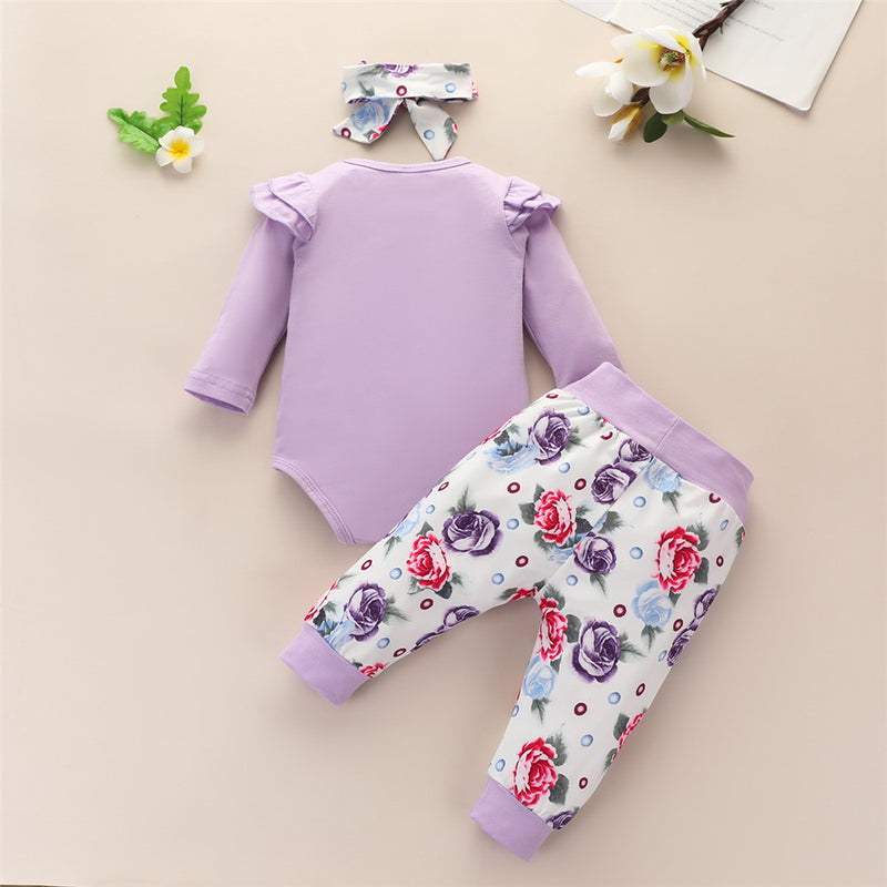 Baby Girls Letter Printed Long Sleeve Romper & Floral Pants & Headband