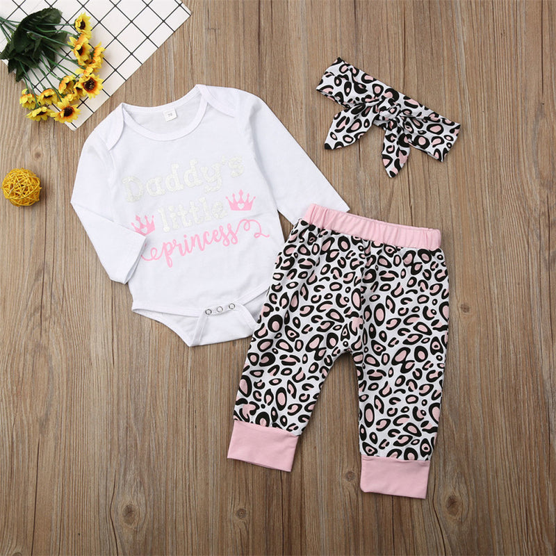 Baby Girls Letter Printed Long Sleeve Romper & Leopard Pants & Headband