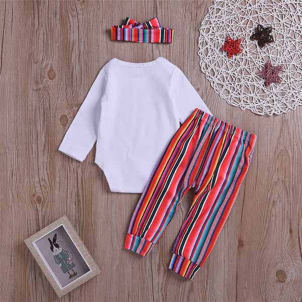 Girls Letter Printed Long Sleeve Romper & Striped Pants Baby Clothes Vendors