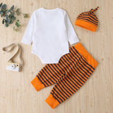 Baby Girls Letter Printed Long Sleeve Romper & Striped Pants & Hat