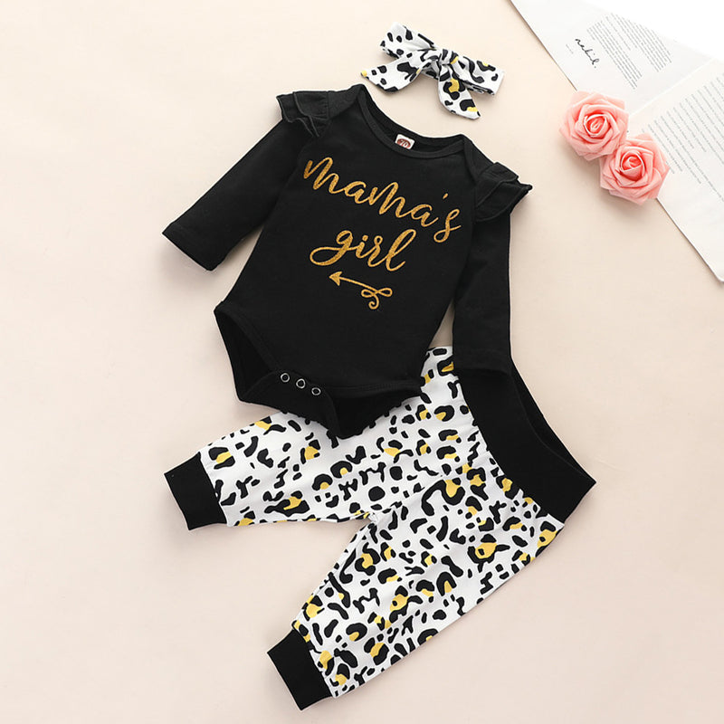 Baby Girls Letter Printed Long Sleeve Rompers & Leopard Pants & Headband
