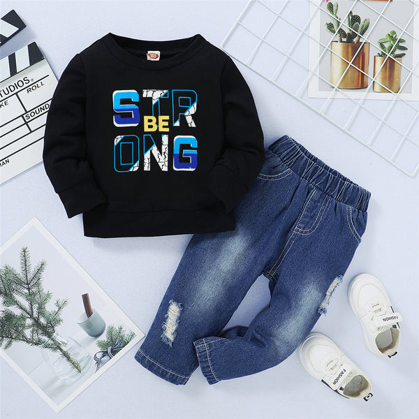 Boys Letter Printed Long Sleeve Top & Ripped Pants Boy Boutique Clothing Wholesale