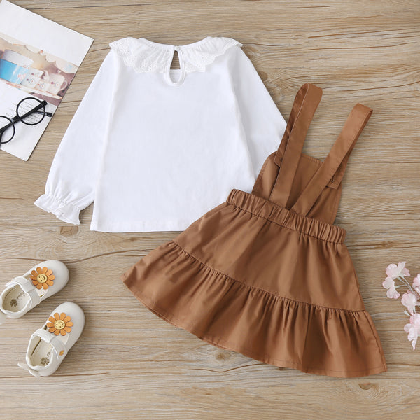 Girls Letter Printed Long Sleeve Top & Suspender Skirt Toddler Girl Boutique Clothing Wholesale