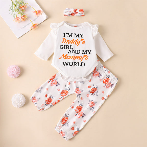 Baby Girls Letter Printed Romper Floral Pants & Headband Wholesale