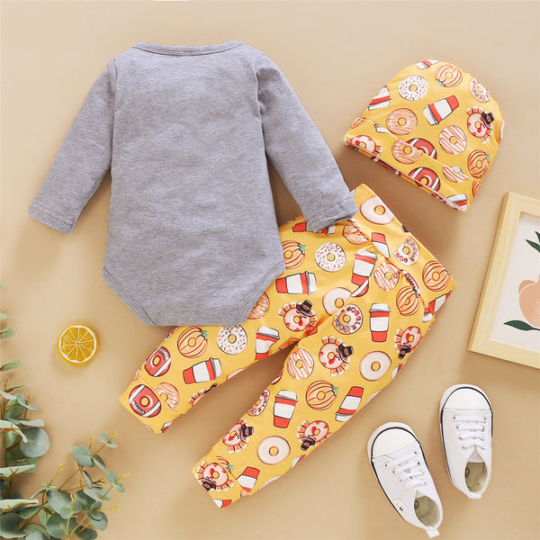 Baby Unisex Letter Printed Romper & Pants & Hat Baby Wholesales