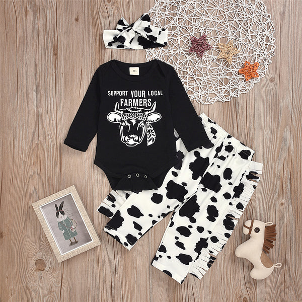 Baby Girls Letter Printed Romper & Pants & Headband Wholesale Baby