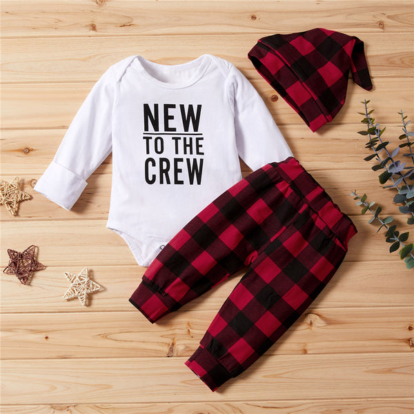 Baby Boys Letter Printed Romper & Plaid Pants & Hat Baby Clothes Vendors