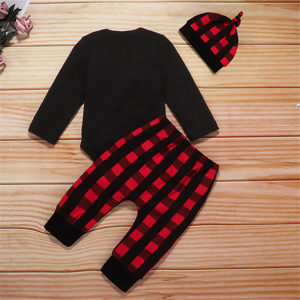 Baby Boys Letter Printed Romper & Plaid Pants & Hat Wholesale Baby Cloths