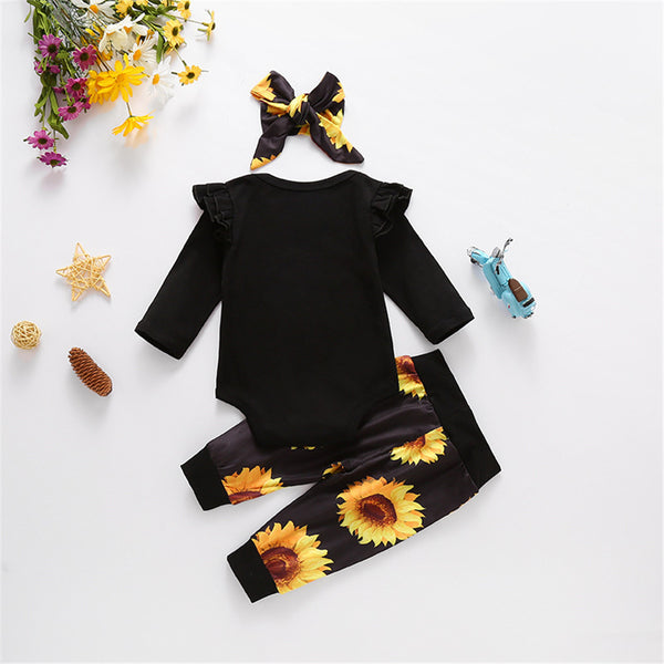 Baby Girls Letter Printed Romper & Sunflower Pants & Headband Wholesale Baby
