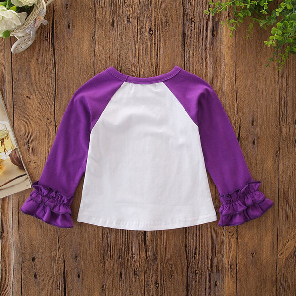 Girls Letter Printed Ruffle Long Sleeve T-shirt Girls Wholesale Clothing