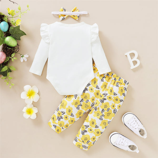 Baby Girls Letter Printed Ruffled Long Sleeve Romper & Floral Printed Pants & Headband Wholesale Baby Outfits