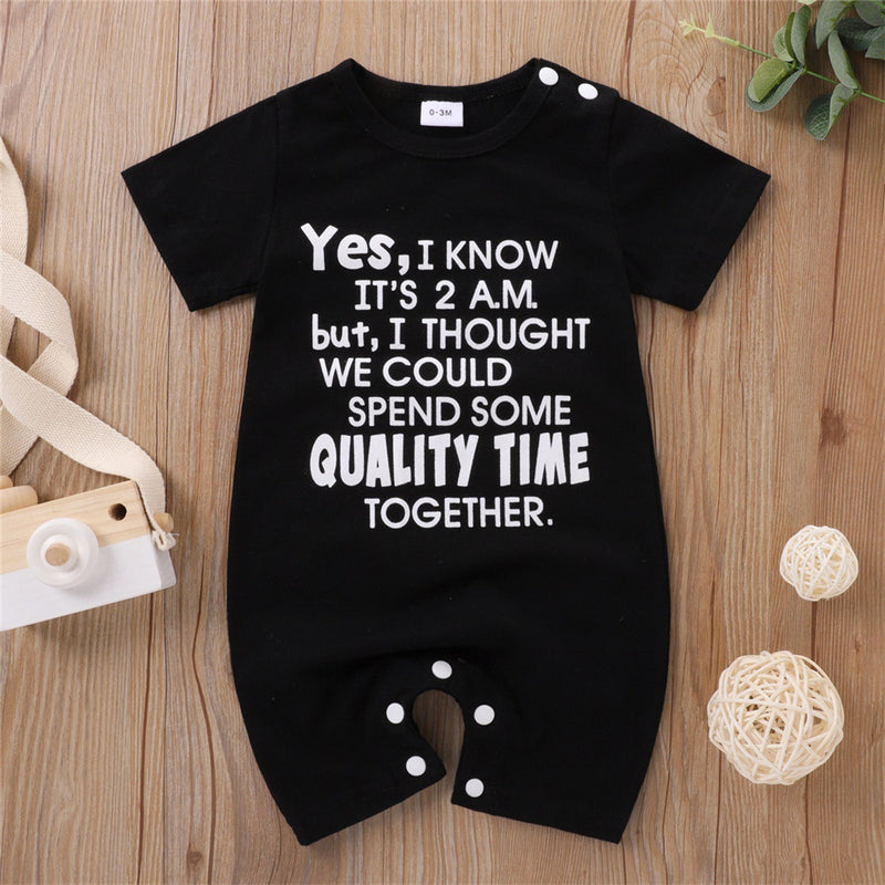 Baby Unisex Letter Printed Short Sleeve Casual Romper wholesale baby boutique suppliers usa