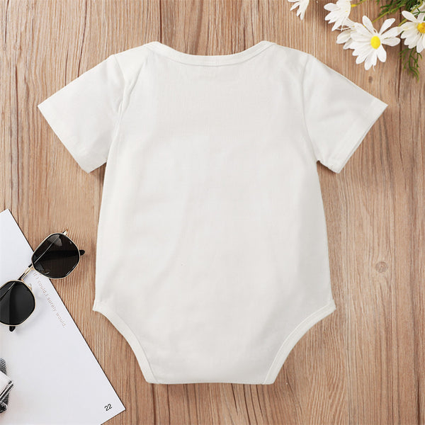 Baby Unisex Letter Printed Short Sleeve Casual Romper wholesale baby clothes