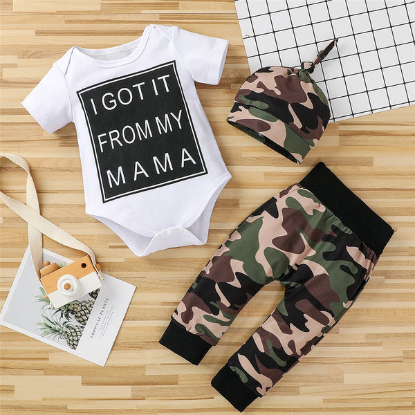 Baby Boys Letter Printed Short Sleeve Romper & Camo Pants & Hat baby wholesale clothing