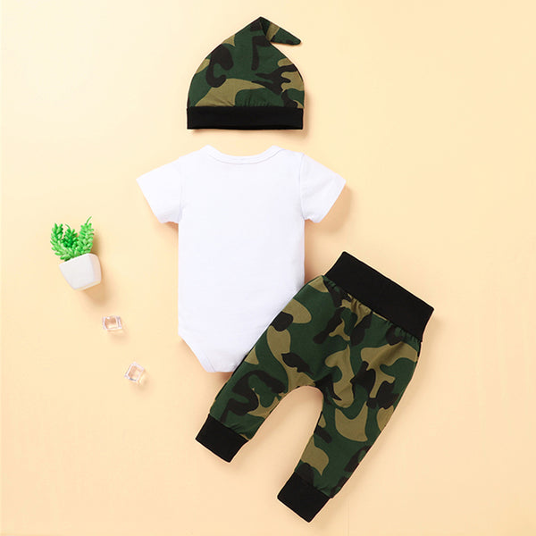 Baby Boy Letter Printed Short Sleeve Romper & Camo Printed Pants & Hat wholesale baby boy clothes