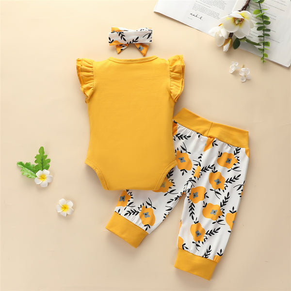 Baby Girls Letter Printed Short Sleeve Romper & Floral Printed Pants & Headband Baby Clothes Vendors