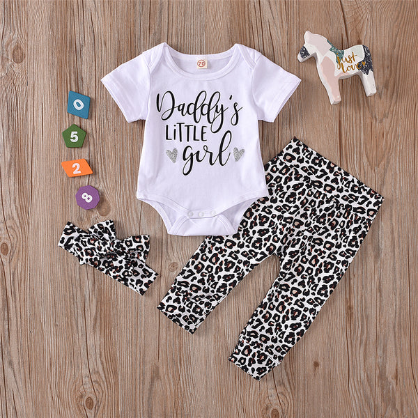 Baby Girls Letter Printed Short Sleeve Romper & Leopard Pants & Headband cheap baby clothes wholesale
