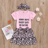 Baby Girls Letter Printed Short Sleeve Romper & Leopard Shorts & Headband Bulk Baby Clothes Online