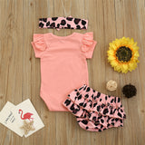 Baby Girls Letter Printed Short Sleeve Romper & Shorts & Headband Wholesale Baby Cloths