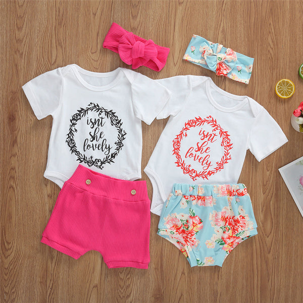 Baby Girls Letter Printed Short Sleeve Romper & Shorts & Headband bulk baby clothes
