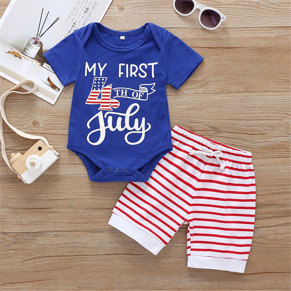 Baby Unisex Letter Printed Short Sleeve Romper & Striped Shorts Baby Wholesale Suppliers