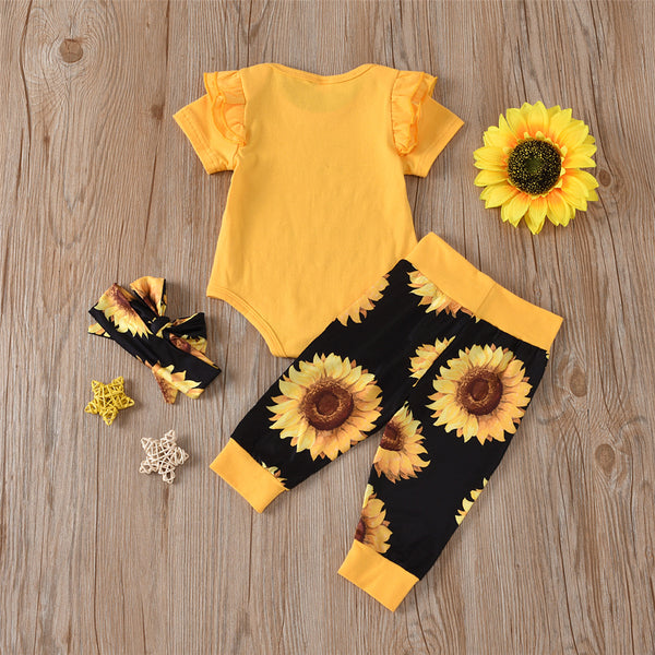 Baby Girls Letter Printed Short Sleeve Romper & Sunflower Pants & Headband Wholesale Baby Clothes