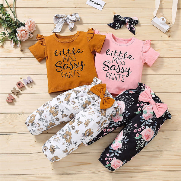 Girls Letter Printed Short Sleeve T-Shirts & Floral Printed Pants & Headband children's wholesale boutique clothing
