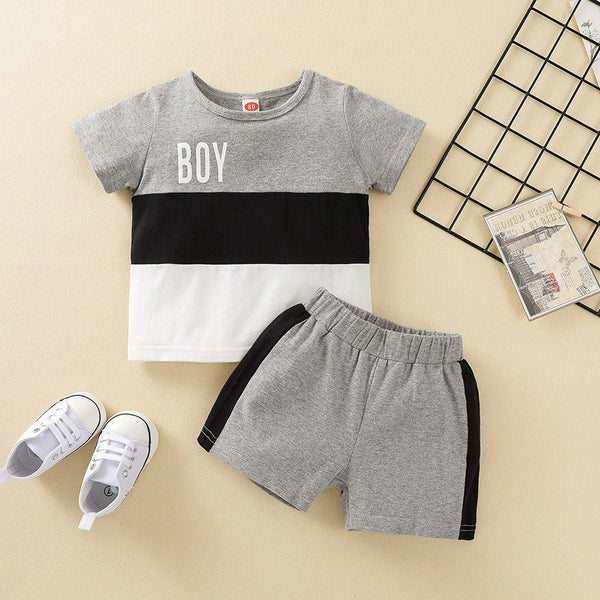 Baby Boys Letter Printed Short Sleeve T-shirt & Shorts cheap baby clothes wholesale