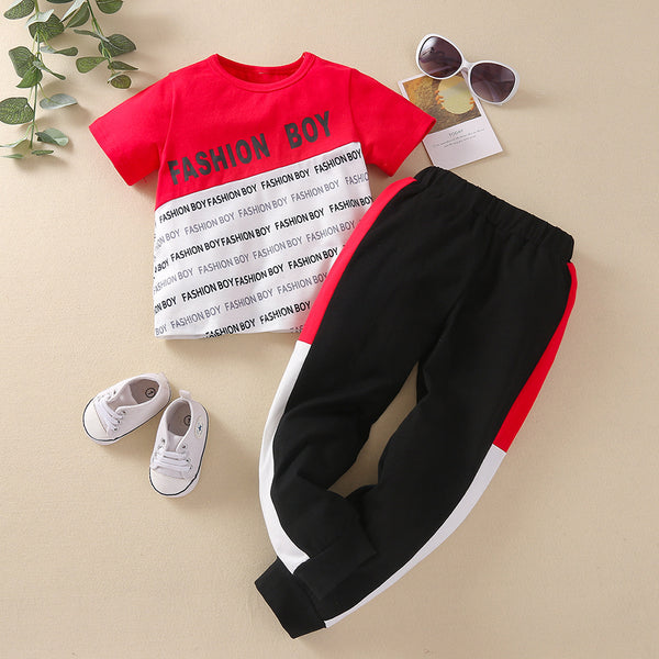 Boys Letter Printed Short Sleeve T-shirts & Pants wholesale kids boutique clothing