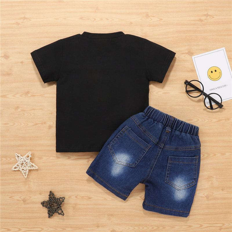 Boys Letter Printed Short Sleeve Top & Denim Shorts Wholesale Boy Clothes