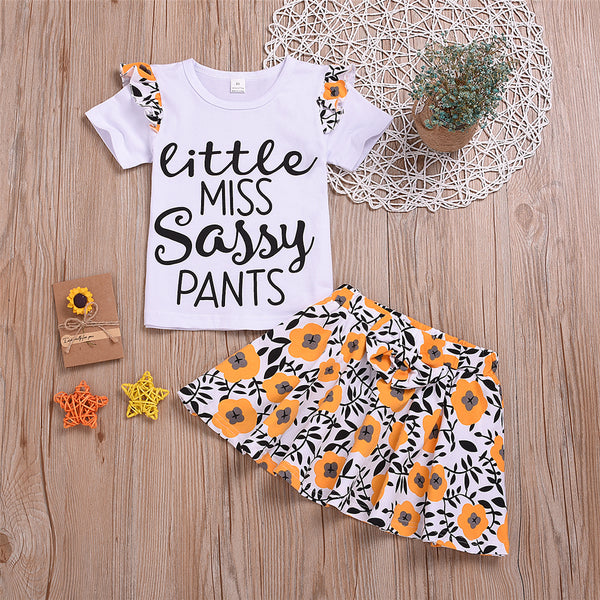 Girls Letter Printed Short Sleeve Top & Floral Printed Skirt Toddler Girls Wholesale