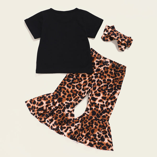 Baby Girls Letter Printed Short Sleeve Top & Leopard Bell Trousers & Headband cheap baby clothes wholesale