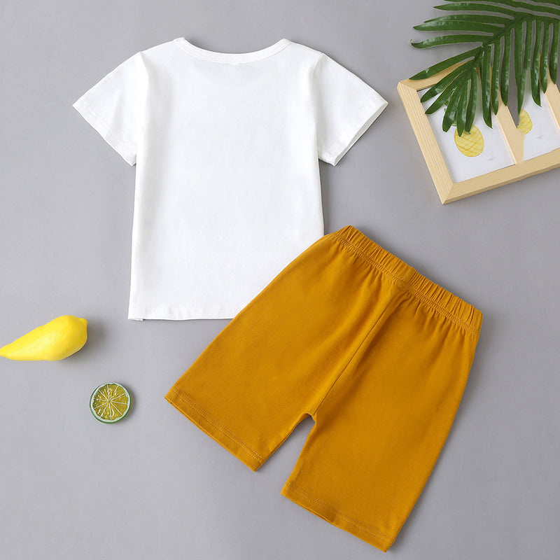 Unisex Letter Printed Short Sleeve Top & Shorts wholesale childrens clothing