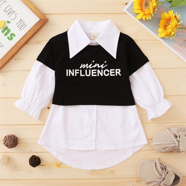 Girls Letter Printed Short Sleeve Top & Solid Long Sleeve Lapel Blouse Wholesale Girls Clothing