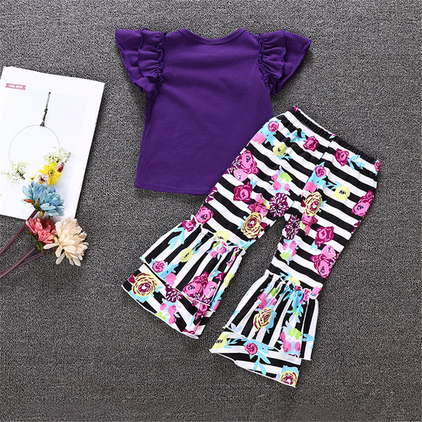 Girls Letter Printed Short Sleeve Top & Stripe Bell Trousers Girl Wholesale