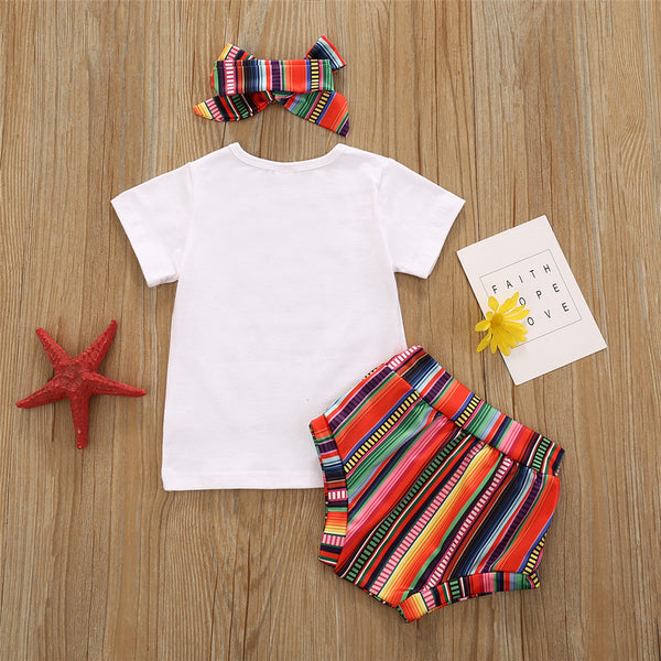 Baby Girls Letter Printed Short Sleeve Top & Striped Shorts & Headband Boutique Baby Clothes Wholesale