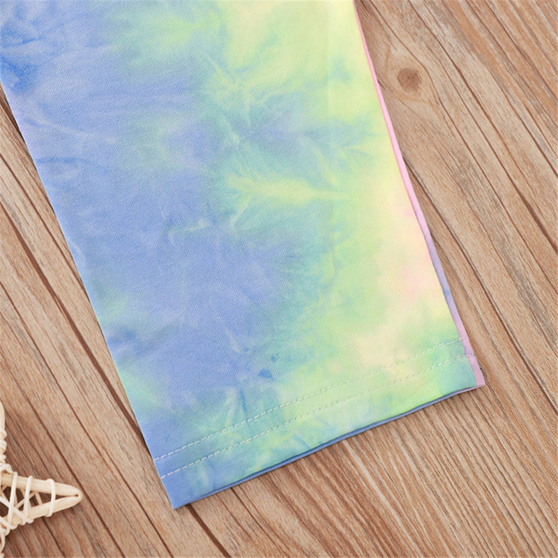 Girls Letter Printed Short Sleeve Top & Tie Dye Pants Girls Clothing Wholesale